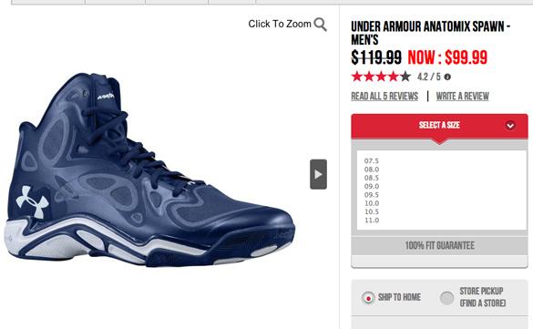 under armour shoes original price