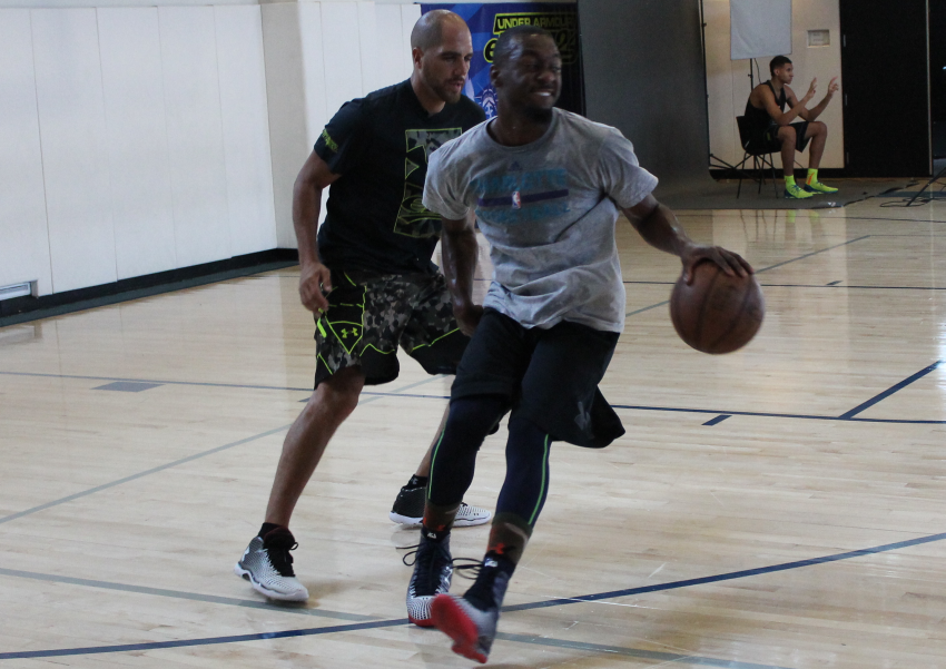 4346404a24af Kemba Walker Works Out During 2014 Under Armour Elite 24 Practice In ClutchFit  Drive