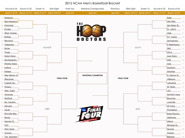 Printable 2015 Ncaa March Madness Bracket With Teams Pdf